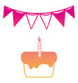 silhouette cake pastel with candle and flag party vector image vector image