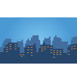 Silhouette of hotel at night vector image vector image