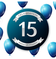 Silver number fifteen years anniversary vector image vector image