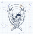 sketch pirate skull with sword vector image