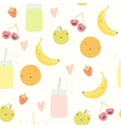 Smoothie pattern with funny fruits vector image vector image