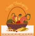 thanksgiving basket with autumn pumpkin vector image