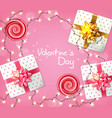 valentine day gift boxes and lights garland vector image