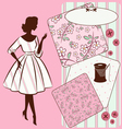 Vintage sewing elements with woman vector image vector image