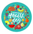 world health day concept round banner vector image