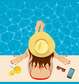 young womanon edge of swimming pool top view vector image vector image