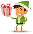 christmas elf holding gift vector image