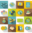 global connections icons set flat style vector image