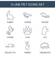 9 pet icons vector image vector image