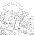 a children coloring bookpage two foxes pick vector image