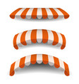 a set of striped orange white awnings canopies vector image vector image