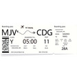 airline boarding pass tickets with shadow vector image vector image