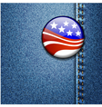 american flag badge on jeans denim vector image