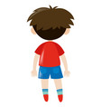 back of boy in red shirt vector image