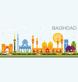 baghdad skyline with color buildings and blue sky vector image vector image
