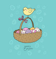 basket with easter eggs and chicken greeting card vector image vector image