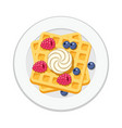 belgian waffles with ice cream and berries vector image