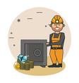 bitcoin mining cartoons vector image vector image