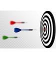 blue dart arrows flying to target dartboard vector image