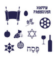 blue silhouette passover icons vector image vector image