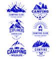 camping logo templates blue retro sketch vector image vector image