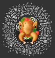 cartoon chicken grill with vegetables icon vector image vector image