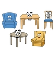 Cartooned furniture set with smiles vector image vector image