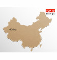 china map on craft paper texture template vector image vector image