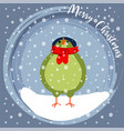 christmas card with little dressed bird vector image vector image