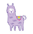 cute alpaca animal cartoon doodle color on white vector image