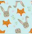 cute cartoon pattern with fox hare and grass vector image