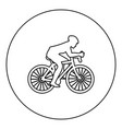 cyclist on bike silhouette icon black color in vector image vector image