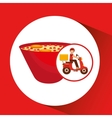 delivery boy ride motorcycle ramen vector image