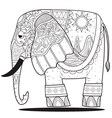 elephant line art coloring vector image vector image