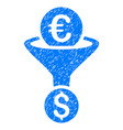 euro dollar conversion funnel grunge icon vector image vector image
