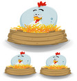 farm chicken nest with wood banner vector image