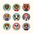 flat design style animal avatar icon set vector image vector image