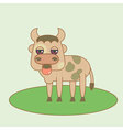 Flat small bull cute vector image