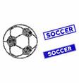 football ball mosaic and grunge rectangle soccer vector image vector image