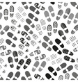 Grayscale human shoes footprint various sole vector image