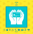 hands holding credit card icon vector image vector image