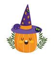 happy halloween pumpkin with witch hat spiders vector image vector image