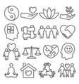 harmony line icons set on white background vector image vector image