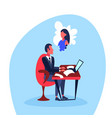 infatuated businessman sitting office workplace vector image