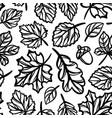 leaves autumn pattern monochrome seamless vector image