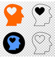 lovely heart man head eps icon with contour vector image vector image
