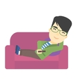 Man sitting on the couch with remote control vector image