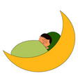man sleeping on moon on white background vector image vector image