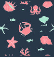 marine color pattern with pictures in dark vector image