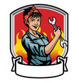 mechanic women design vector image vector image
